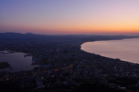 北海道函館山夜景朝焼けデジタル画像